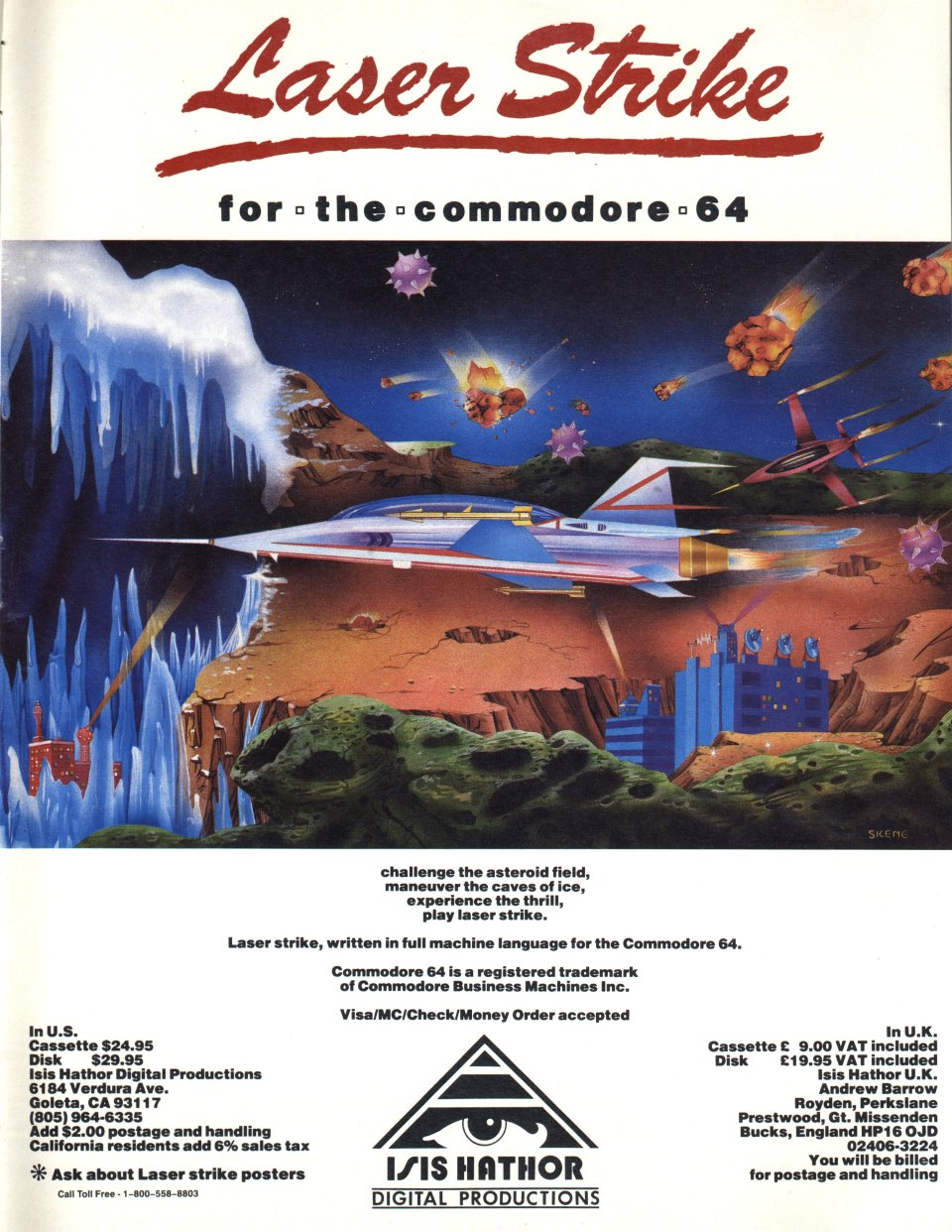 [Advertisement: Laser Strike for the Commodore 64 by Isis Hathor Digital Productions]
