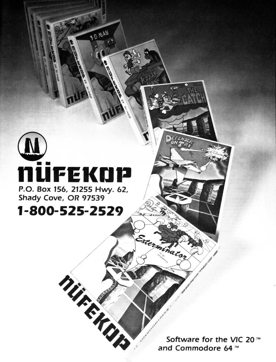 [Advertisement: Nüfekop software for the VIC-20 and Commodore 64]