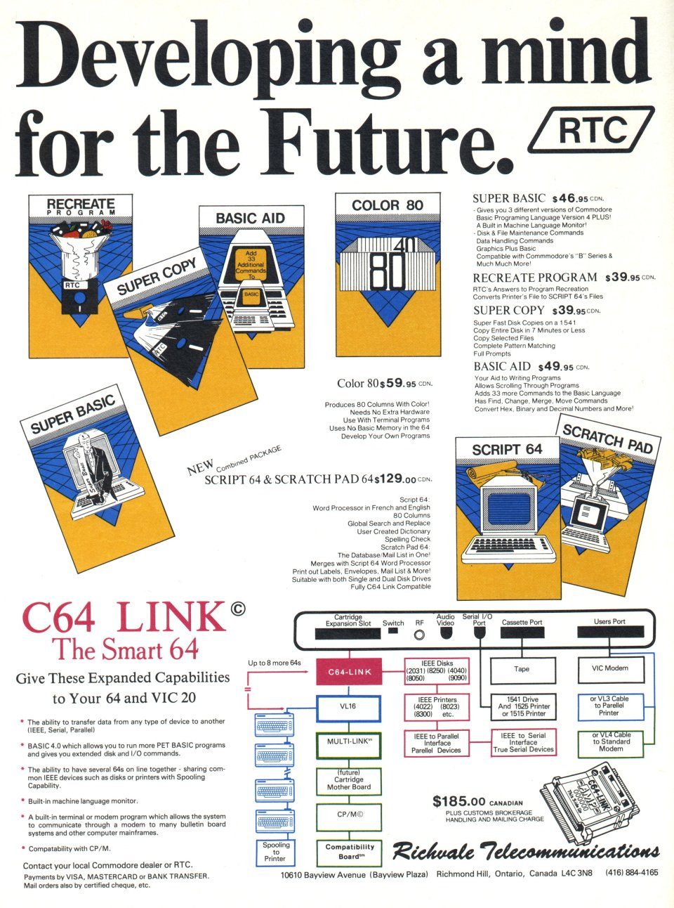 [Advertisement: Utilities an 'C64 Link' by Richvale Telecommunications]